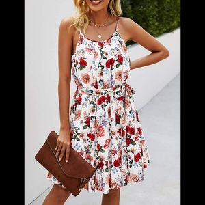 Summer dress mini dress Spaghetti strap floral